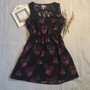 Kirra black floral dress with lace backing medium